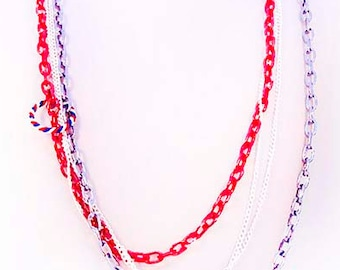 RED WHITE BLUE necklace, patriotic necklace, 4th of July, Memorial Day, Flag Day, red chain, blue chain, 2 white chains - 2163RWB