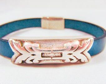 MEN'S LEATHER Bracelet, purple leather, leather jewelry, blue leather, blue bracelet, blue jewelry, silver clasp,silver slider,purple - 1763