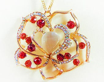 CRYSTAL-GOLD PENDANT, pendant necklace, gold-filled chain, red crystal, red jewelry, rhinestone, white glass teardrop, magnetic clasp - 1934