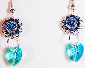 SWAROVSKI FILLGREE EARRINGS, aqua crystals, aqua crystal heart, rhodium plated, Swarovski earrings, earrings - 1652