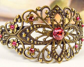 FILIGREE CUFF BRACELET, brass bracelet, Swarovski rose crystals, adjustable bracelet, floral cuff bracelet - 1568