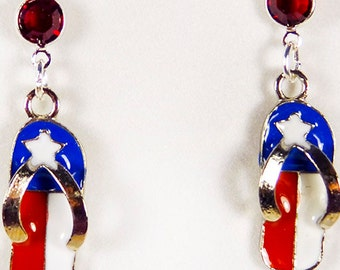 RED WHITE and BLUE earrings, Memorial Day, Flag Day, Independence Day, 4th of July, enameled earring, flip flop charm, red crystal - 1532HO