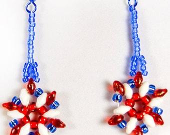 4th of July earrings, Memorial Day, Flag Day, red white blue earrings, patriotic earrings, patriotic jewelry, beaded earrings,