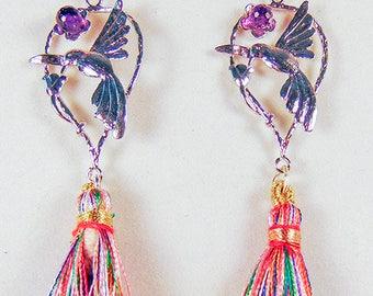 SILVER HUMMINGBIRD EARRINGS, hummingbird jewelry, bird earrings, bird jewelry, purple crystal, variegated tassel, silver earwires - 2039+