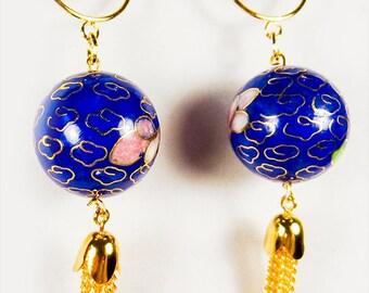 CLOISONNE EARRINGS, cloisonne jewelry, cloisonne, blue cloisonne, pink flowers, gold chain tassel, tassel earrings, tassel jewelry - 1362+