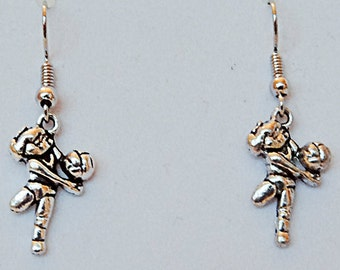 VOLLEYBALL CHARM EARRINGS, volleyball jewelry, volleyball, sports earrings, sports jewelry, sports, volleyball player, player charm - 0549S