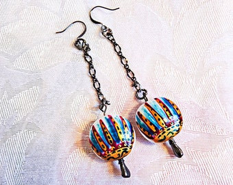 COLORFUL BEAD EARRINGS. Gunmetal chain. Design and colors are inspired by America's Southwest. - 0013+