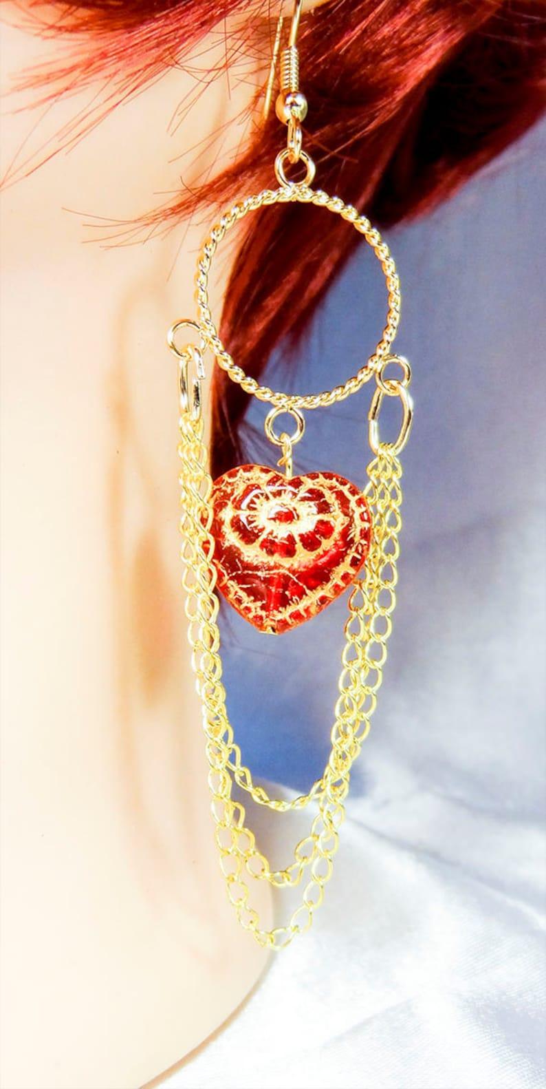 Valentine jewelry Valentine earring heart gold finish chain HEART EARRINGS 1306HO gold trim on heart heart jewelry red glass hearts