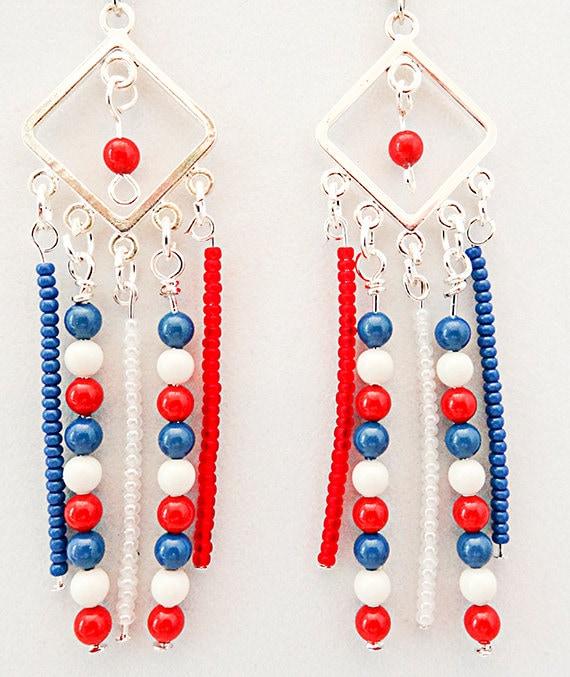 4. Juli-Ohrringe Gedenktag Tag Der Flagge Rot Weiß Blau