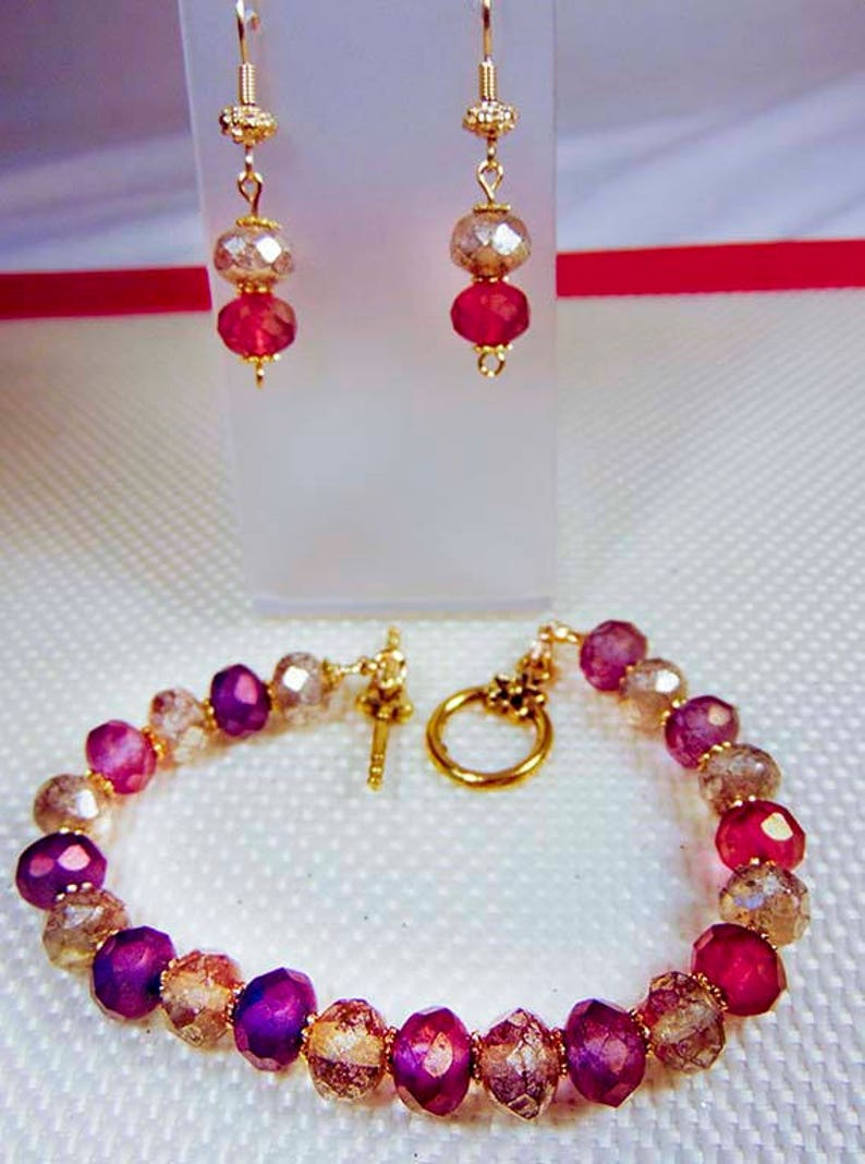muted crystals muted burgundy crystal classic jewelry set muted silver crystal CRYSTAL EARRINGS and BRACELET 2101JS toggle clasp