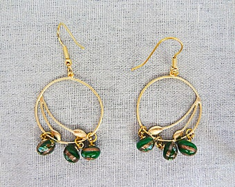 GOLD HOOP EARRINGS, leaves swept to side, green floral bead,bead brushed with gold, gold plated jewelry, hoop earrings, hoop jewelry - 0177+