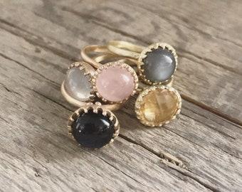 grit ring - bronze and garnet