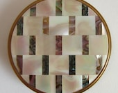 Vintage Margaret Rose 39 Mother of Pearl and Abalone Shell 39 Powder Compact