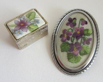 Vintage Embroidered Violet Brooch and Violet Pill Box