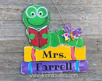 Books with bookworm book worm librarian teacher door hanger hanging Door Doodles wood wooden custom hand painted