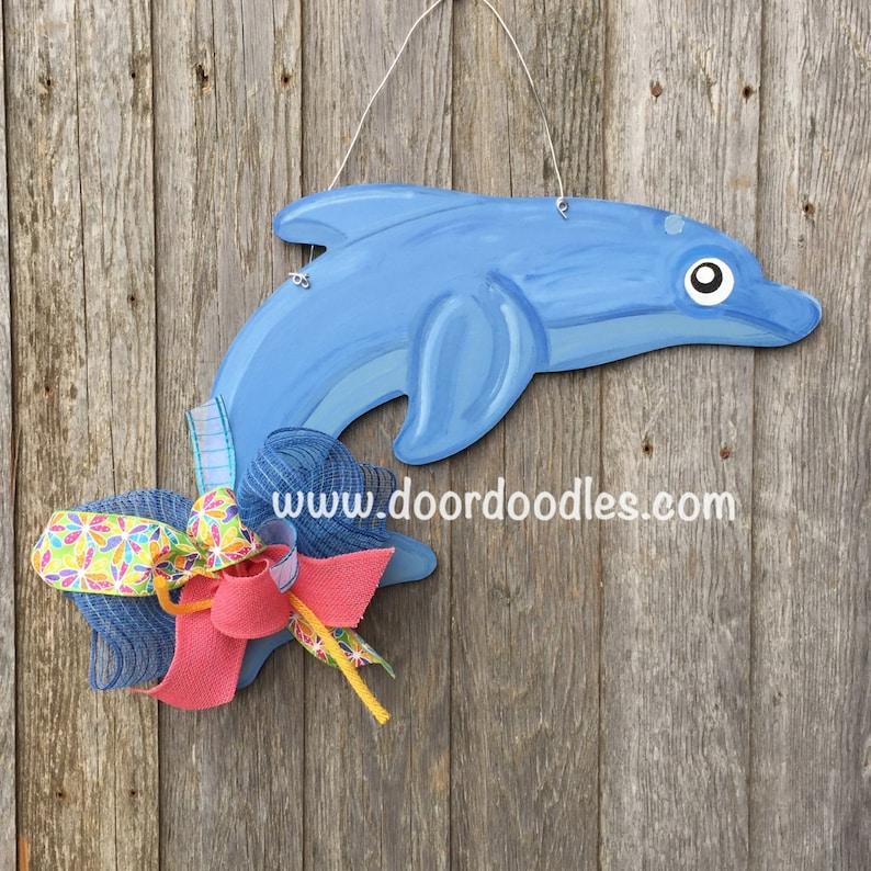 Dolphin wooden front door hang hanger hanging Door Doodles wood wooden custom hand painted