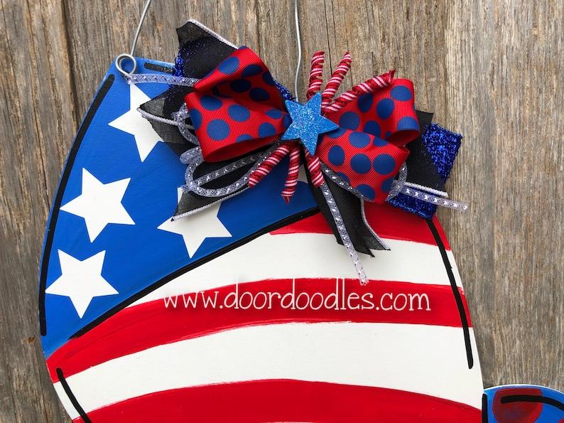 4th of July Huge Firecrackers rocket front door decoration patriotic hang hanger July 4 USA America wood wooden custom wreath Door Doodles