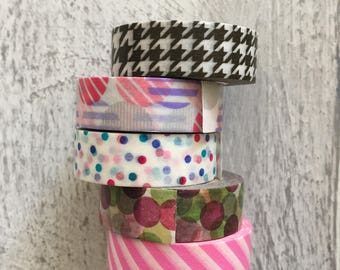 5 x rolls assorted Washi Tape