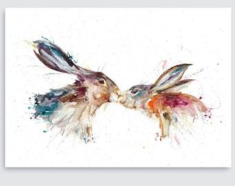 Download Rabbit Kissing Art Etsy