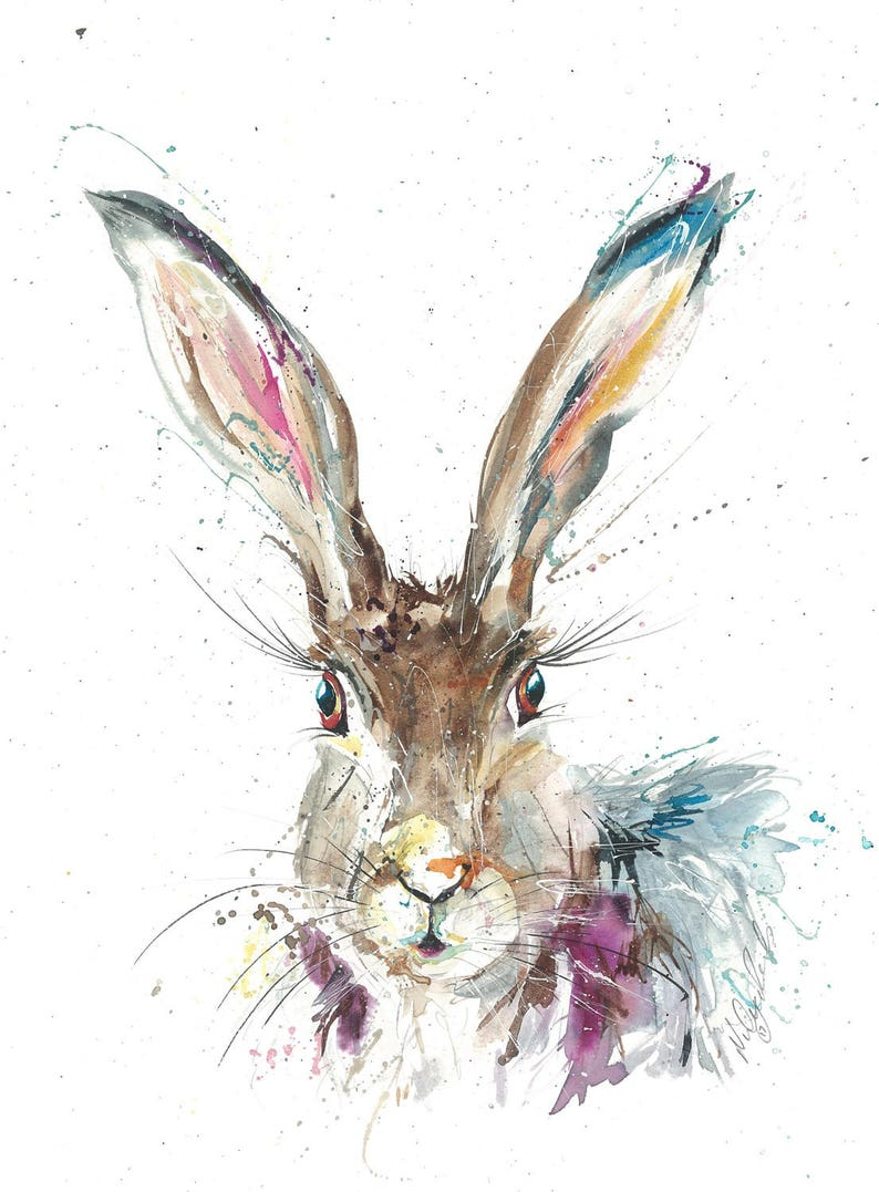 HARE RABBIT ART SIGNED PRINT from watercolour painting Christmas gift Large A3