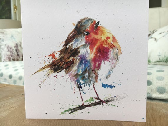 Christmas Card Artist.Christmas Robin Art Blank Watercolour Print Christmas Card Designed By Artist Nicola Jane Rowles Watercolour Prints