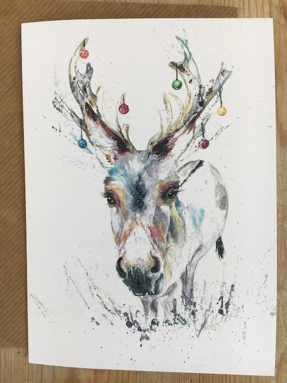 Christmas Card Artist.Little Donkey Christmas Card Donkey Card Reindeer Art Card Watercolour Print Card Designed By Artist Nicola Jane Rowles