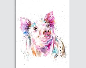 Canvas Giclee  Watercolour  Percy Pig   Art Print by collectable artist/designer Nicola Jane Rowles