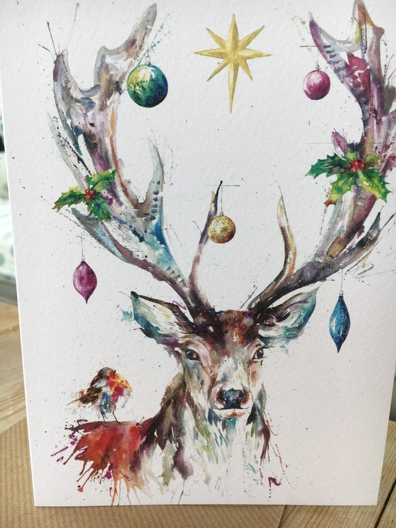 Christmas Card Artist.Highland Stag Christmas Card Stags Card Art Card Watercolour Print Card Designed By Artist Nicola Jane Rowles