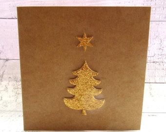 pack of two gold glitter christmas tree christmas cards