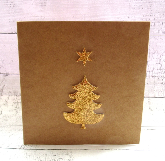 Glitter Christmas Cards.Pack Of Two Gold Glitter Christmas Tree Christmas Cards