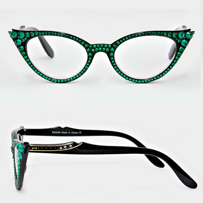 c9655fb4496 Cat Eye Reading Glasses w Crystal Detail