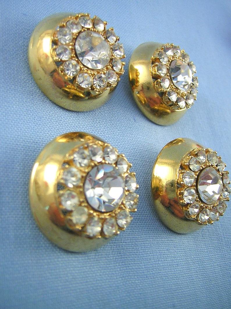 Add some Sparkle 4 Matched Rhinestone BUTTONS Glamour /& Glitz