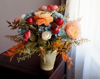 Silk flower arrangement etsy rts silk flower arrangement peonies arrangement orange flower mothers dayfall thanksgiving arrangement table centerpiece housewarming mightylinksfo