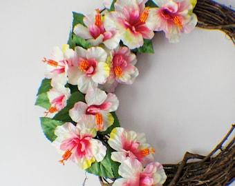 Front Door Wreath, Summer Wreath, Door Wreath, New Home Door Wreath, Blossom Wreaths, Pink Wreath, Ready to Ship