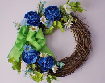 Front Door Wreath, Summer Wreath, Spring Wreaths, Ranunculus and Daisy Wreath, Year Round Wreath, Spring Door Wreaths, Mothers Day