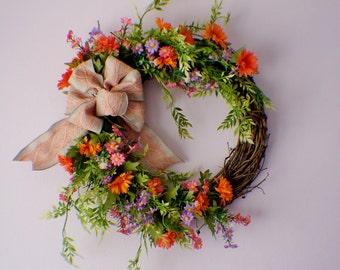 Door Wreath, Front Door Wreath, Daisy Wreath, Year Round Wreath, Fall Door Wreaths, Mothers Day, Ready to Ship