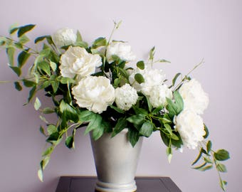 Silk flower arrangement etsy rts silk flower arrangement peonies arrangement white flower mothers day spring thanksgiving arrangement table centerpiece housewarming mightylinksfo