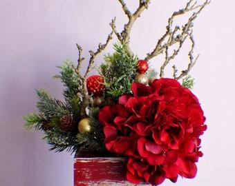 Silk flower arrangement etsy silk flower arrangement ready to ship christmas arrangement red arrangement pine table centerpiece christmas gift mightylinksfo