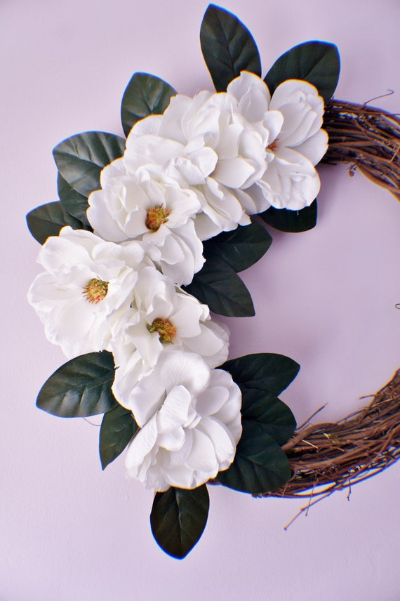 Magnolia Wreath Year Round Magnolia Leaf Wreath Front Door Etsy