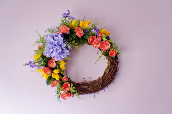 Ready To Ship Wreath Door Wreath Silk Flower Wreath Purple flower Wreath Summer Wreath