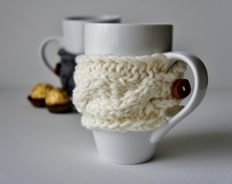 SET OF 2 Coffee Cup Cozy Tea Cup Cozy Coffee Cup Cozie image 0
