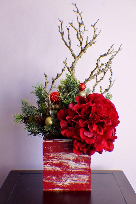 Silk flower arrangement ready to ship christmas arrangement etsy image 0 mightylinksfo
