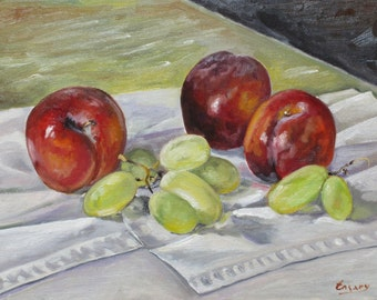 Kitchen Still Life with Plums and Green Grapes, Original oil Painting