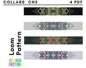 Collars Beads Loom Patterns, Choker Beading Belt Patterns, Beadweaving Tutorial Pdf File, CH3