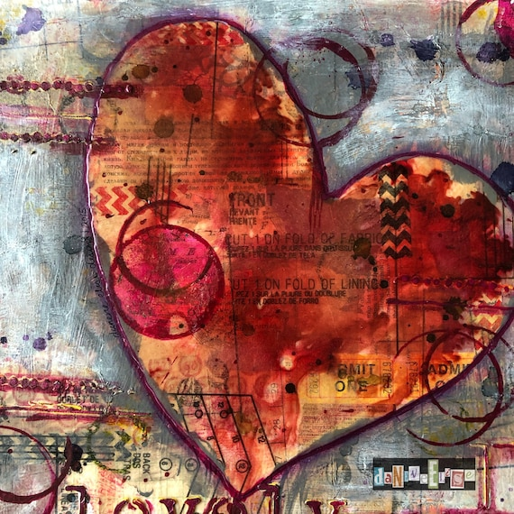 collage hearts mixed media heart painting Heart painting