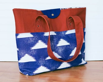 extra large navy blue and rust tote / shoulder bag