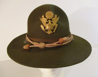 59bc7a6c WWII era U.S. Army Officer's M- 1911 Campaign hat with Service cord for  U.S. Army Signal Corps.