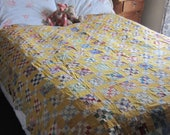 Quilt TOP - Very Charming Vintage Feedsack Four-Patch Quilt Top 82X69