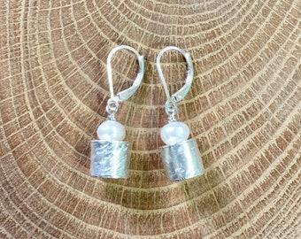Pearl Barrel Earrings