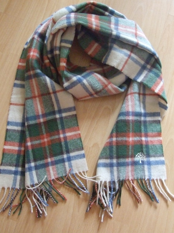 Vintage MULBERRY Scarf, Made in Scotland Scarf, Ta